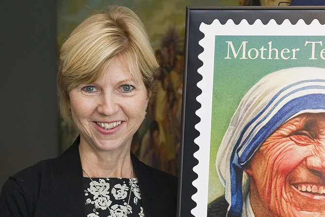 Donna-Marie Cooper O'Boyle with the new Mother Teresa stamp