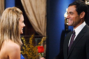Molly accepts her first rose from the bachelor, Jason Mesnick
