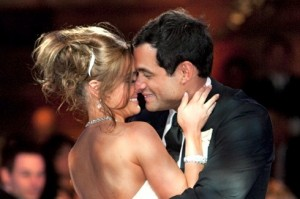 Jason and Molly Mesnick enjoy an intimate moment at their televised wedding reception.