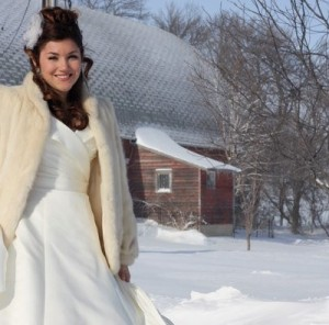 A bride in white & a winter wonderland