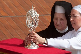 The reliquary containing the blood of Pope John Paul II was placed on a pedestal during the beatification ceremony