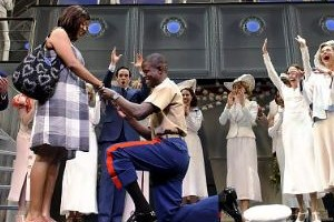 A Marine proposed to his Navy girlfriend May 28 on a Broadway stage