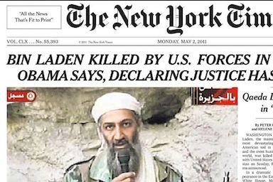 The front page of the May 2 New York Times reporting bid Laden's death