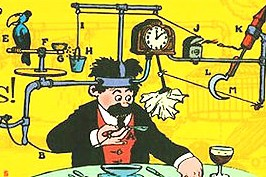 A Rube Goldberg contraption complicates a simple process