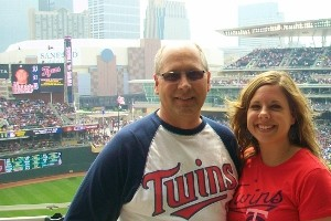 Jessica Zimanske and her dad at Target Field, the new Twins stadium