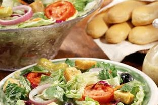 Olive Garden salad & breadsticks -- take time to dine with loved ones