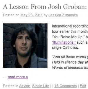 Jessica Zimanske has blogged about Josh Groban several times