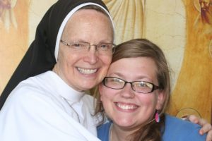 Sr. Joseph Andrew hugs Meris, who will soon join her community in Ann Arbor