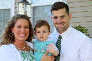 Stephanie & Peter Weinert (who met on CatholicMatch.com) with their firstborn, Mark