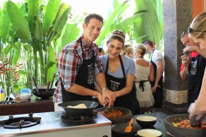 Cooking class during Paul and Regina's honeymoon in Bali