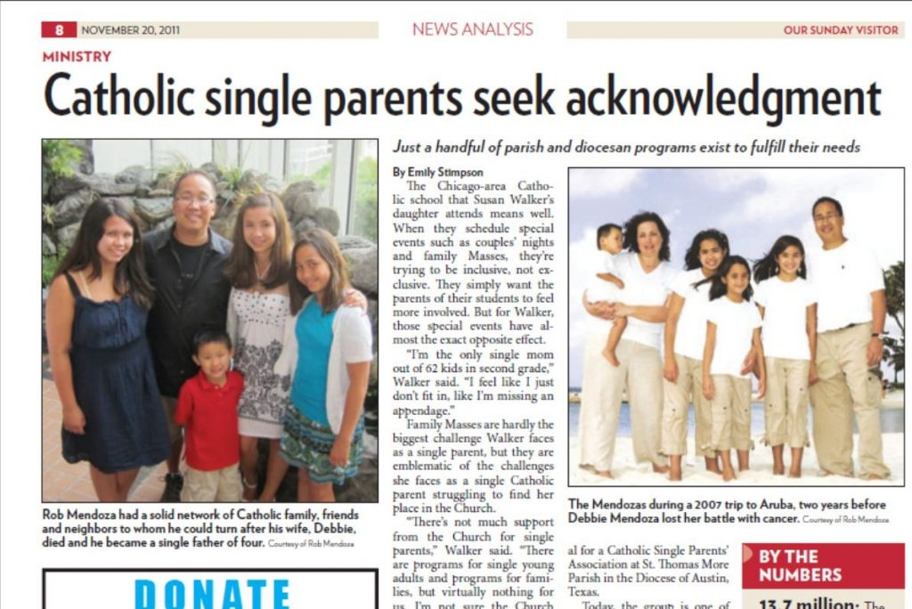 OSV story on single parents in Nov. 20 edition