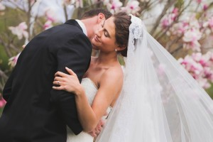 A cherry blossom wedding: Paul and Regina met on CatholicMatch and married in April 2011