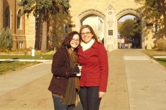 Jessica and her college friend back at the University of St. Thomas in St. Paul, Minnesota