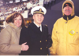 Joe's Navy whites impressed Anna along with his parents.