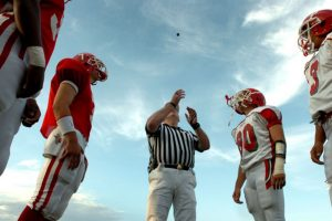 Coin toss before football game
