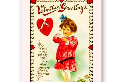 Girl with broken heart -- vintage Valentine card. Do you relate?