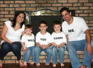 A widower's tender proposal: Frank enlisted his son and Christina's boys to pop the question