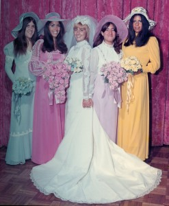 1970s bridesmaids made a splash with long sleeves & big hats