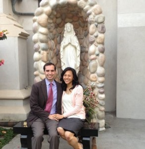 It was under the watchful eye of Our Lady Of Lourdes that David proposed to Josemine.