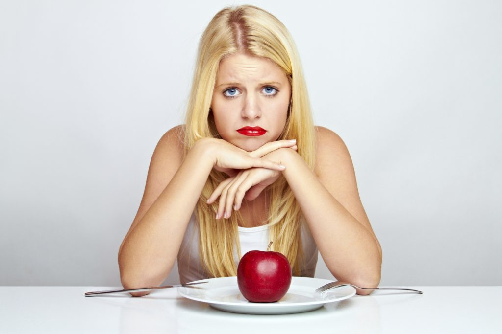 woman sad apple skinny weight