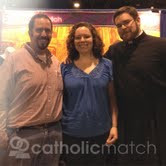 A happily married Aaron & Mary, accompanied her brother, Father Peter at right, paid a visit to CatholicMatch representatives at a Eucharistic Congress in September 2012.