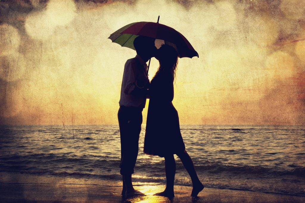 love story rain couple sunset