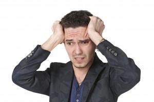 man distressed upset