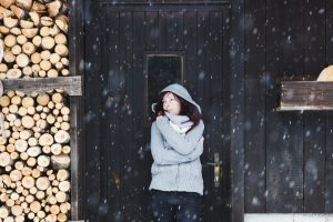 Woman enjoying a winter day