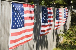 American flags hanging on a wall