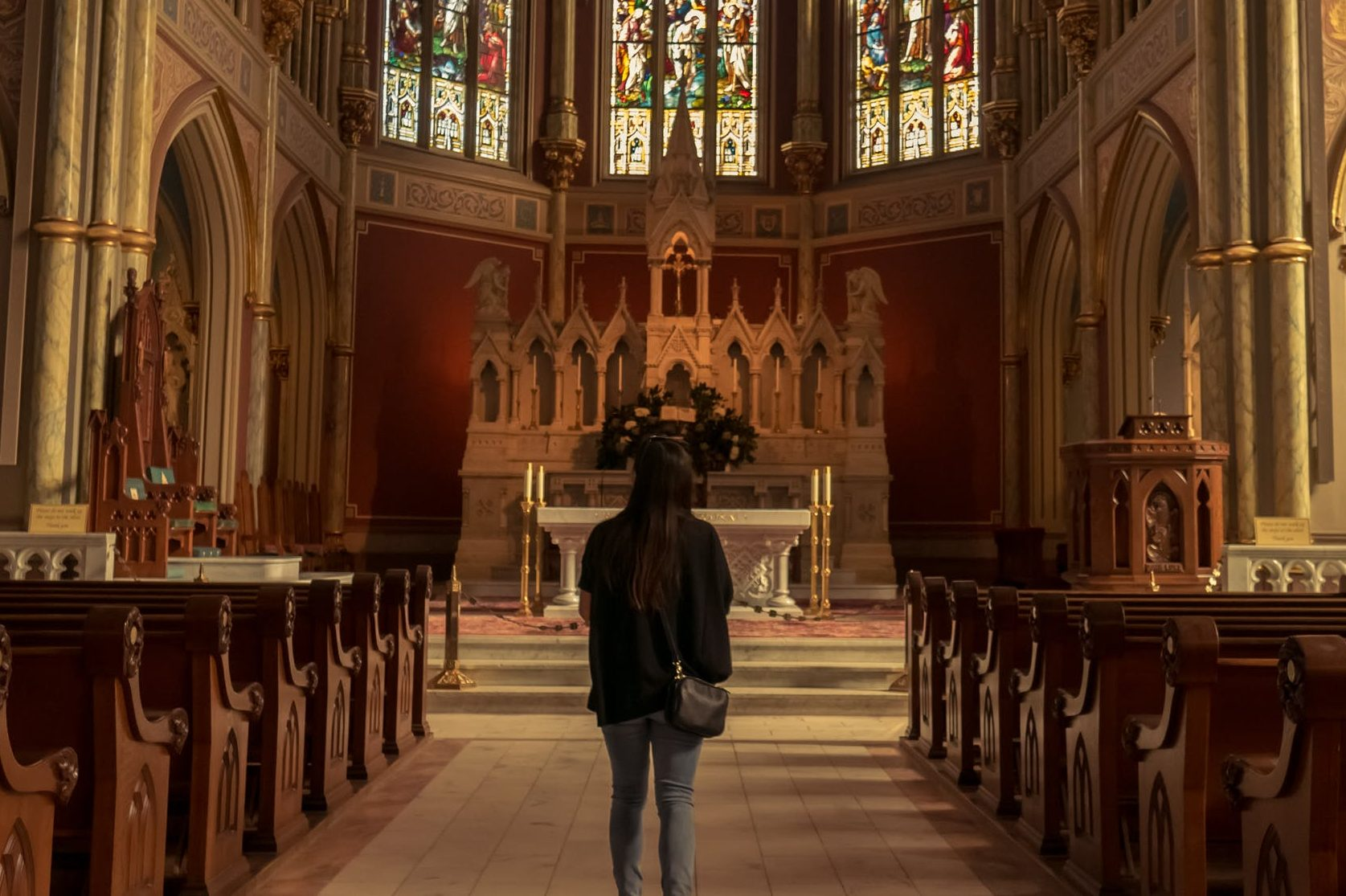 single catholic in church